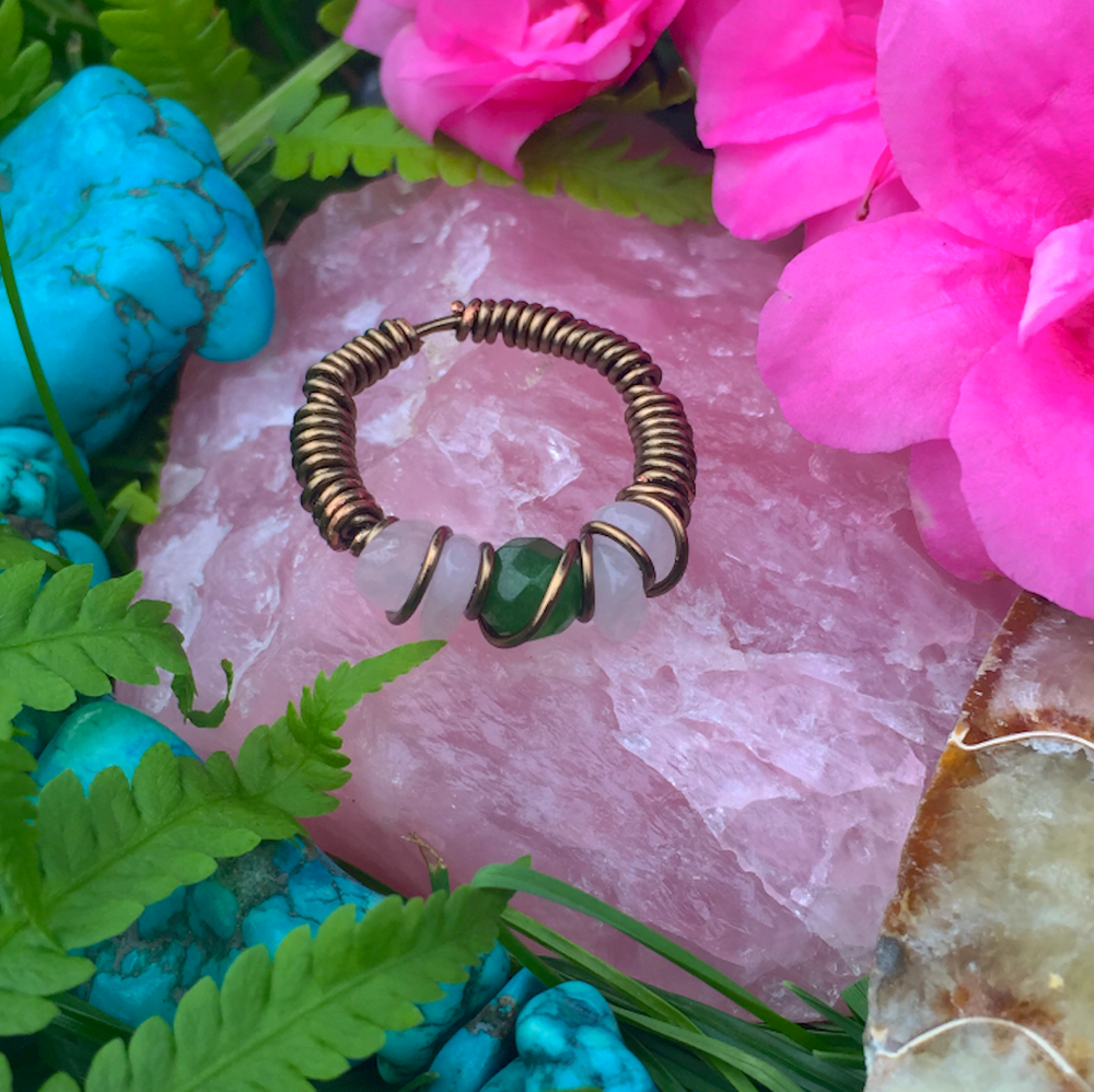 Image of Rose Quartz + Green Aventurine Ring Size (7-7.5)