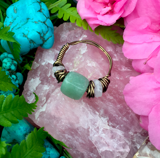 "Image of ""Heart Chakra Healing"" Green Aventurine + Rose Quartz Ring Size 10.5-11"