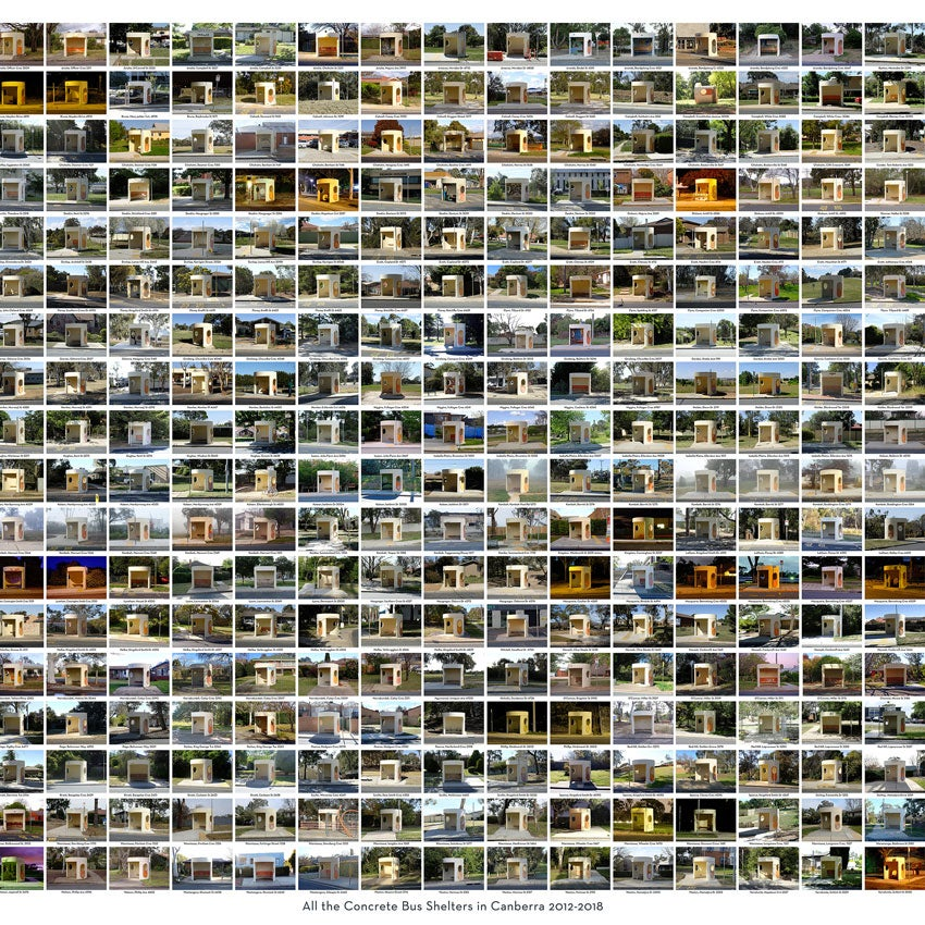 Image of All the Concrete Bus Shelters in Canberra 2012-2018