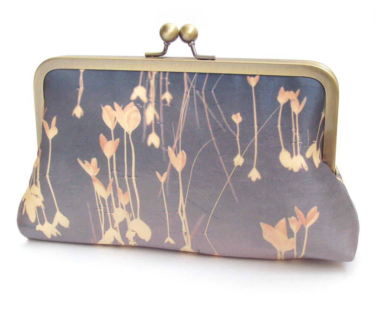 Image of Lilac leaf clutch bag, mauve pink printed silk purse, leaves handbag