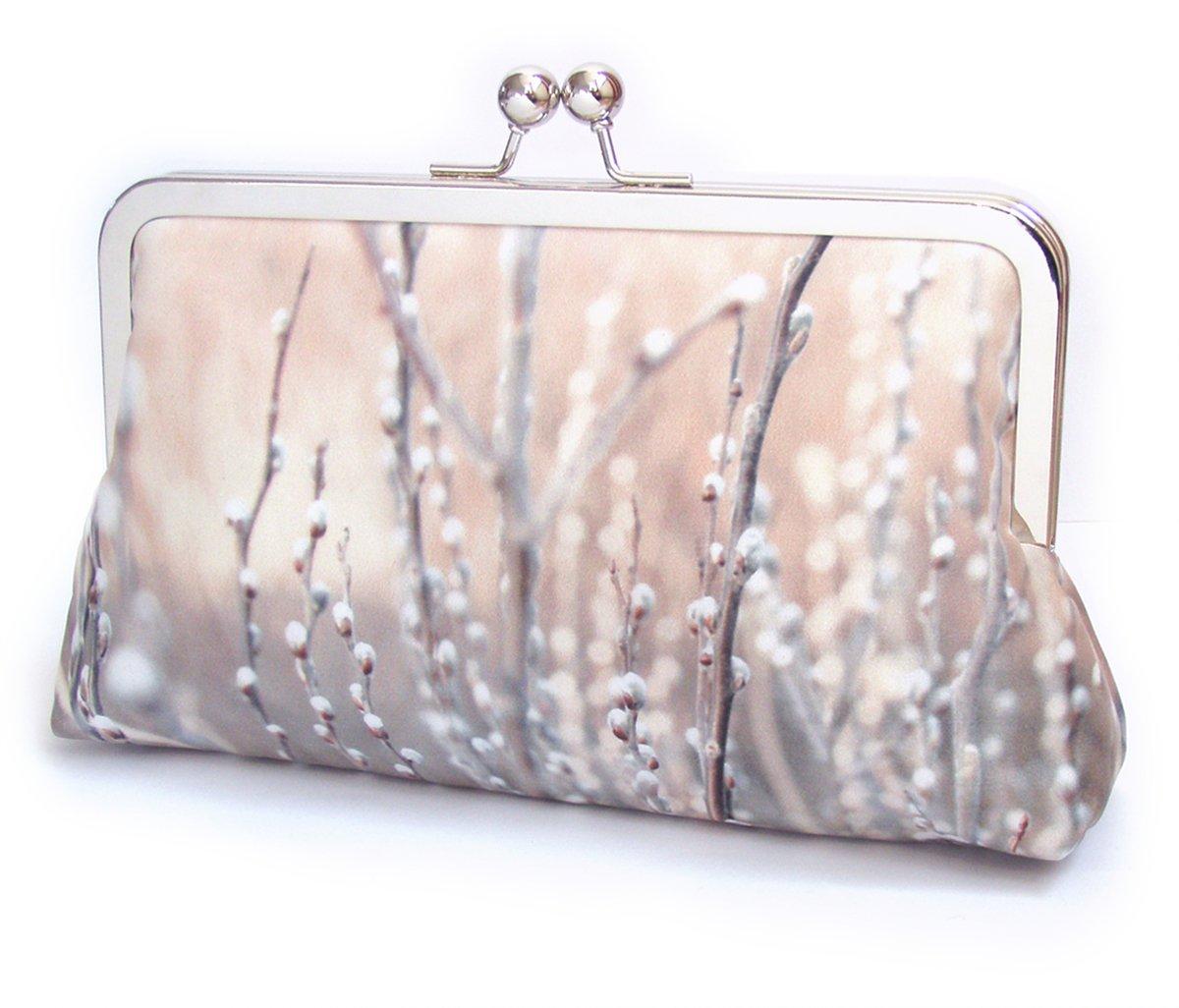 Image of Willow buds, silk clutch bag, blush pink pastel
