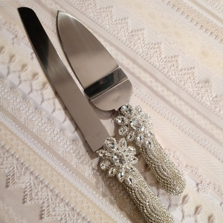 "Image of ""Halle"" Rhinestone Cutlery Set (Available in Gold)"