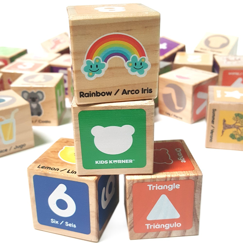 Image of Wood Alphabet Blocks - Bilingual Edition (English/Spanish)