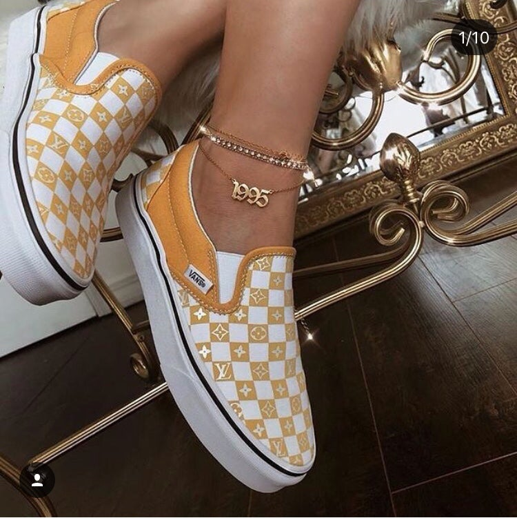 Lv yellow ochre checkered slip on vans