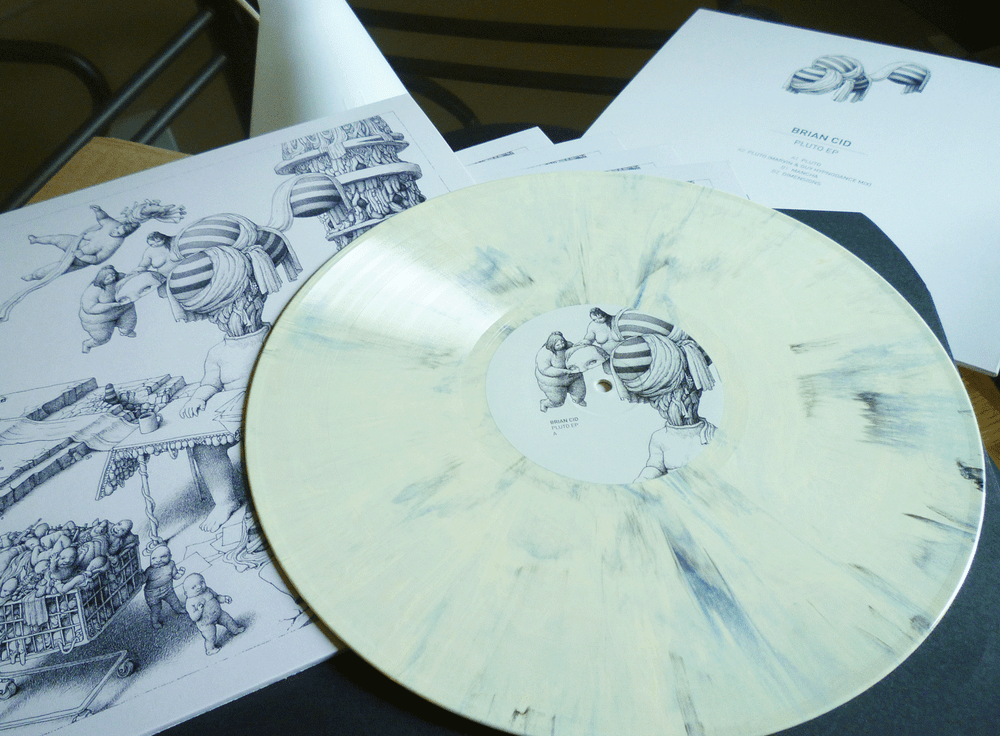 "Image of Brian Cid 'Pluto' EP incl. Marvin & Guy Remix Ltd. Edition 12"" Cream & Black Marble Vinyl"