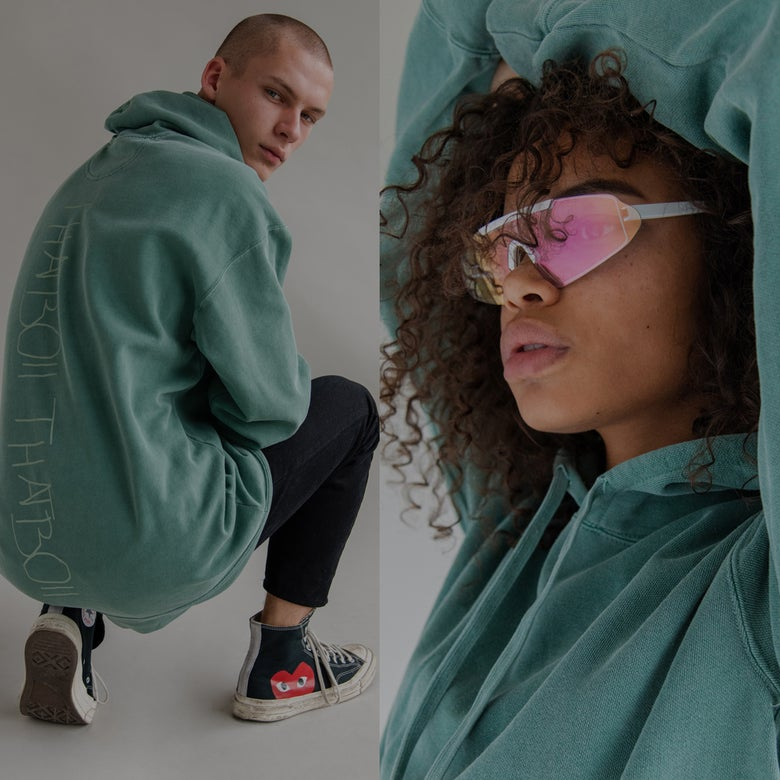 Image of THATBOII HOODIE - WASHED GREEN