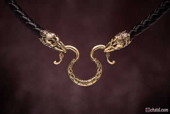 Image of Leather Necklace with Bronze Raven Heads