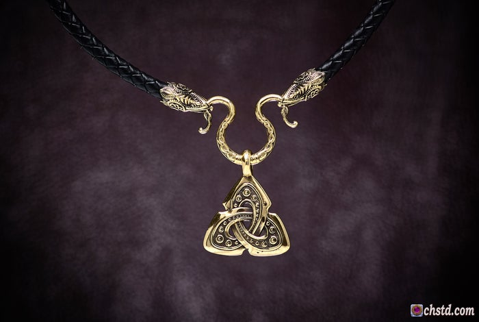 TRIQUETRA :: CELTIC SHIELD KNOT with RAVENS Necklace <br> BLACK FRIDAY The price is reduced!