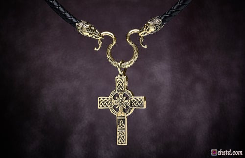 Image of CELTIC CROSS with RAVENS Necklace