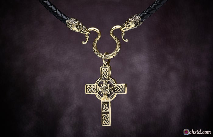 Image of CELTIC CROSS with RAVENS Necklace <br> BLACK FRIDAY The price is reduced!