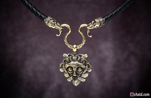 Image of ODIN'S MASK with RAVENS Necklace