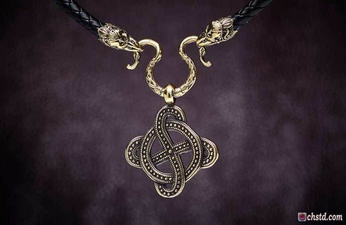 Image of SOLAR CROSS with RAVENS Necklace <br> BLACK FRIDAY The price is reduced!