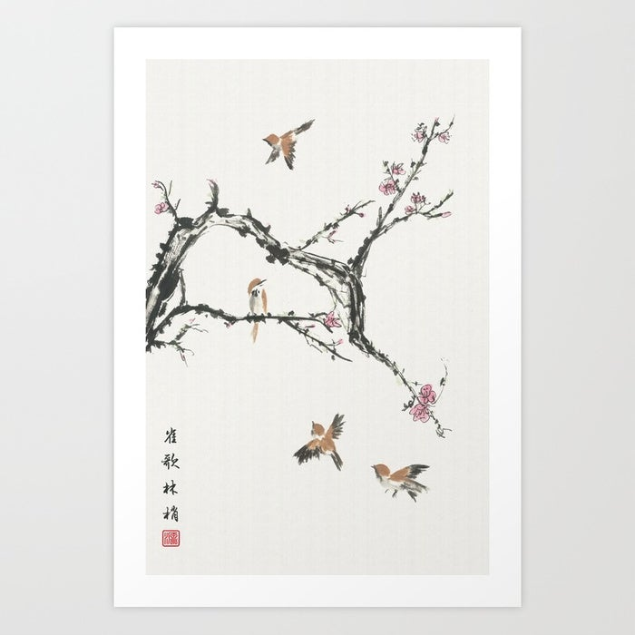 Image of Art Print - Sparrows & Blossoms