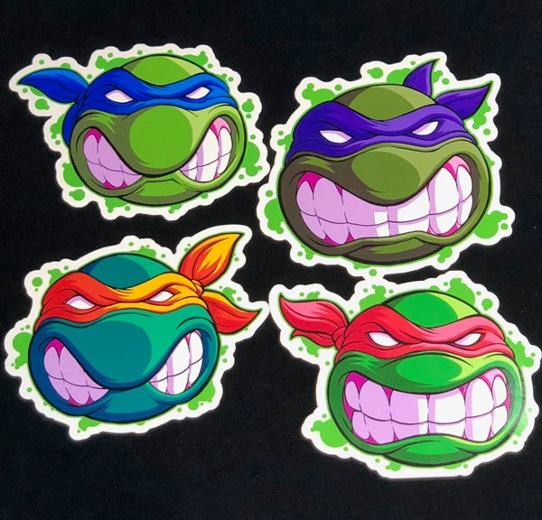 Image of 4 TMNT Faces Premium Vinyl Stickers (SET)