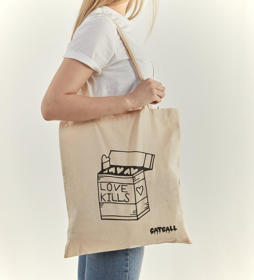 Image of Love Kills Tote Bag NATURAL