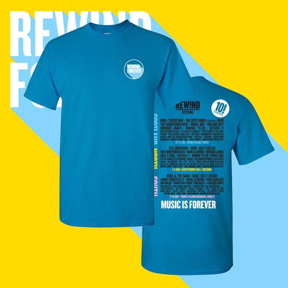 Image of Blue Rewind 2018 line up t-shirt