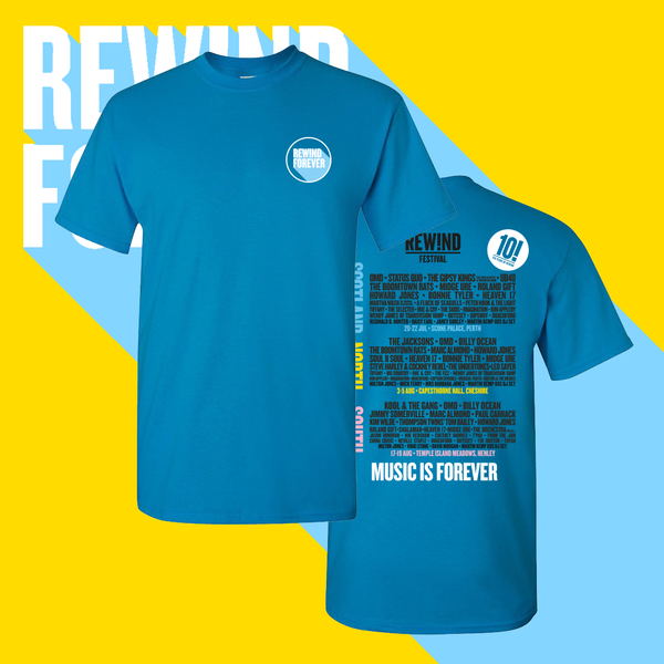 Image of Blue Rewind 2018 line up t-shirt