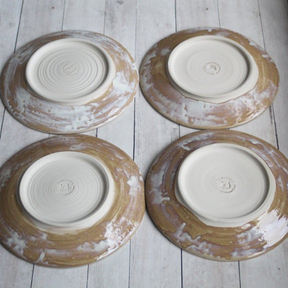 Andover Pottery Set Of Four Rustic White And Ocher