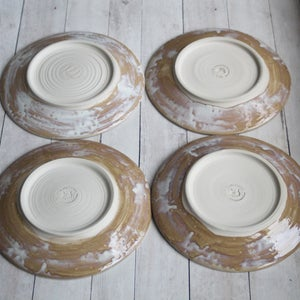 Image of Set of Four Rustic White and Ocher Dinner Plates Handmade Dinnerware Made in USA