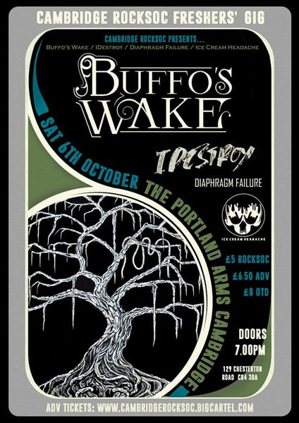 Image of RockSoc Freshers' Gig: Buffo's Wake // IDestroy // Diaphragm Failure // Ice Cream Headache