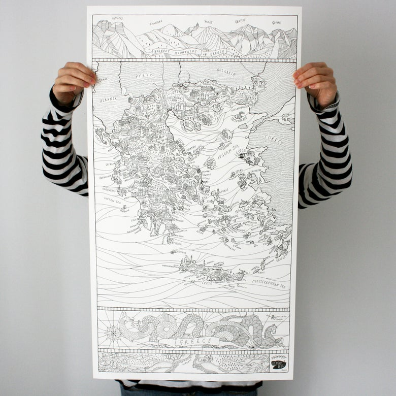 Image of Map of Greece - Colour in Poster