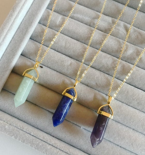 Image of Gold Gemstone Point Necklace