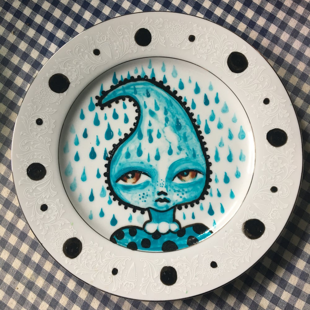 Image of Tear Drop Lady Hand Painted Plate