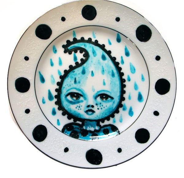 Image of Tear Drop Lady - Hand painted one of a kind Small Dessert Plate