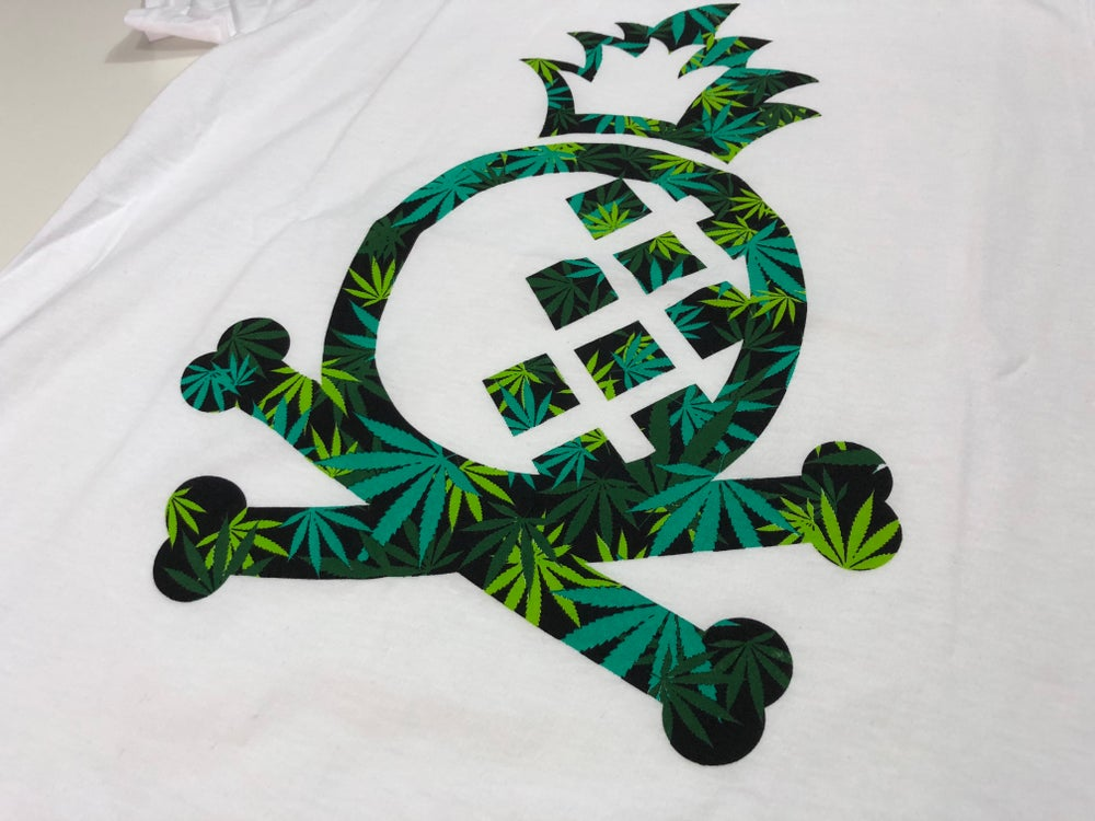 "Image of Pineapple Crossbones Mens Tee - White ""Sensimilla"""