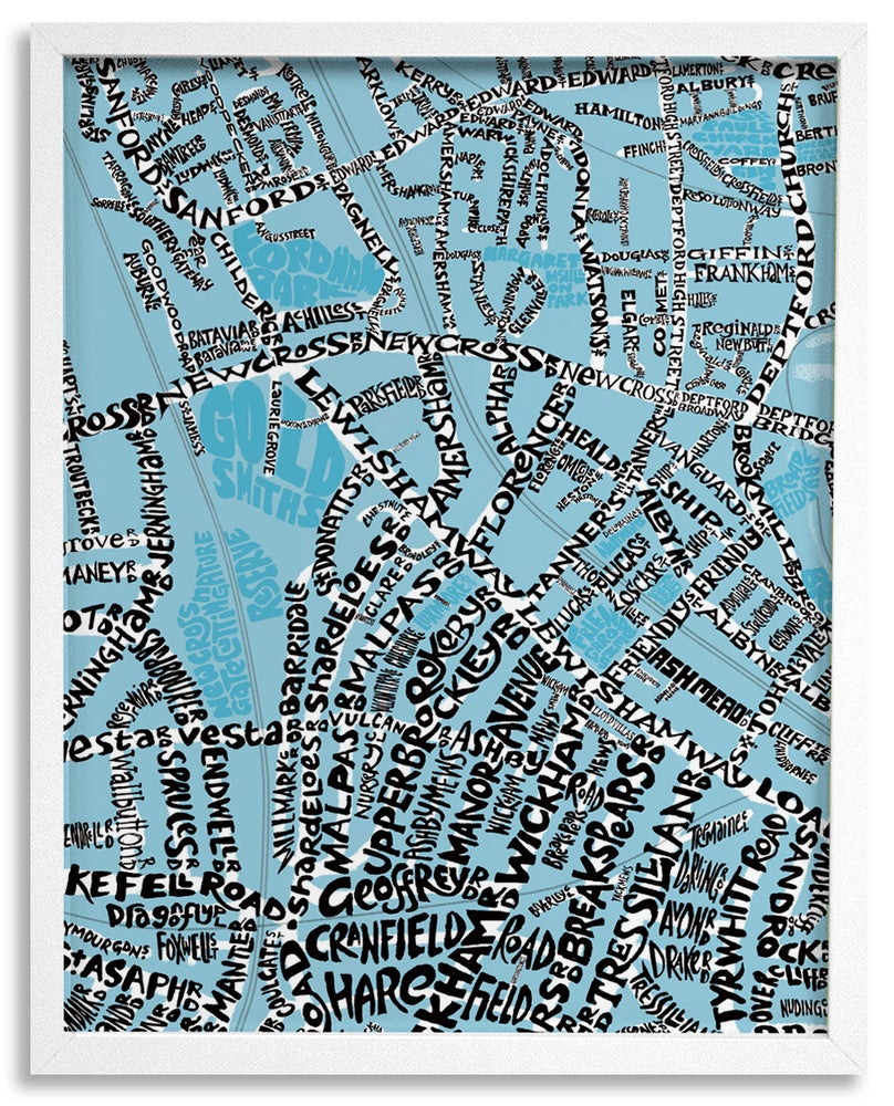 Image of New Cross SE14 - Deptford SE8 - Brockley SE4 - SE London Type Map - Various colours