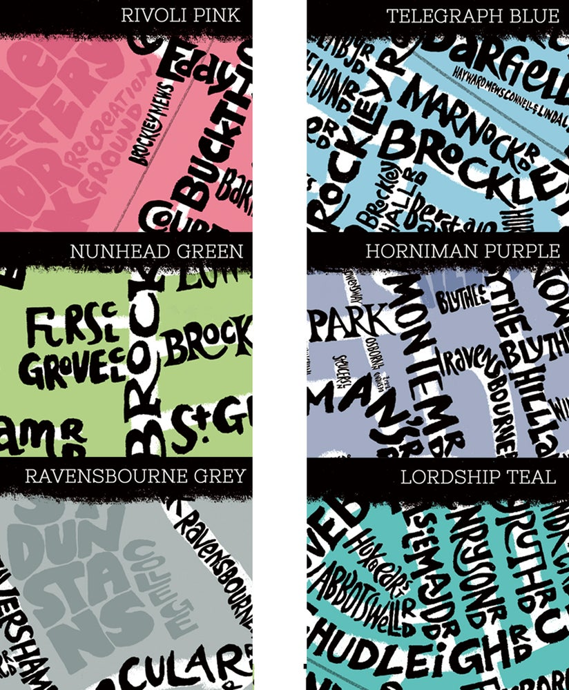 Image of New Cross - Deptford - Brockley - Map - Black text on a colour background