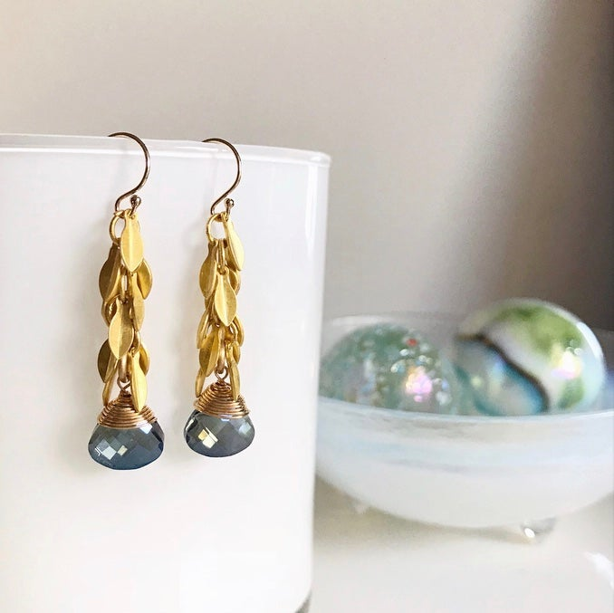 Image of Blue Briolette and Gold Leaf Earrings