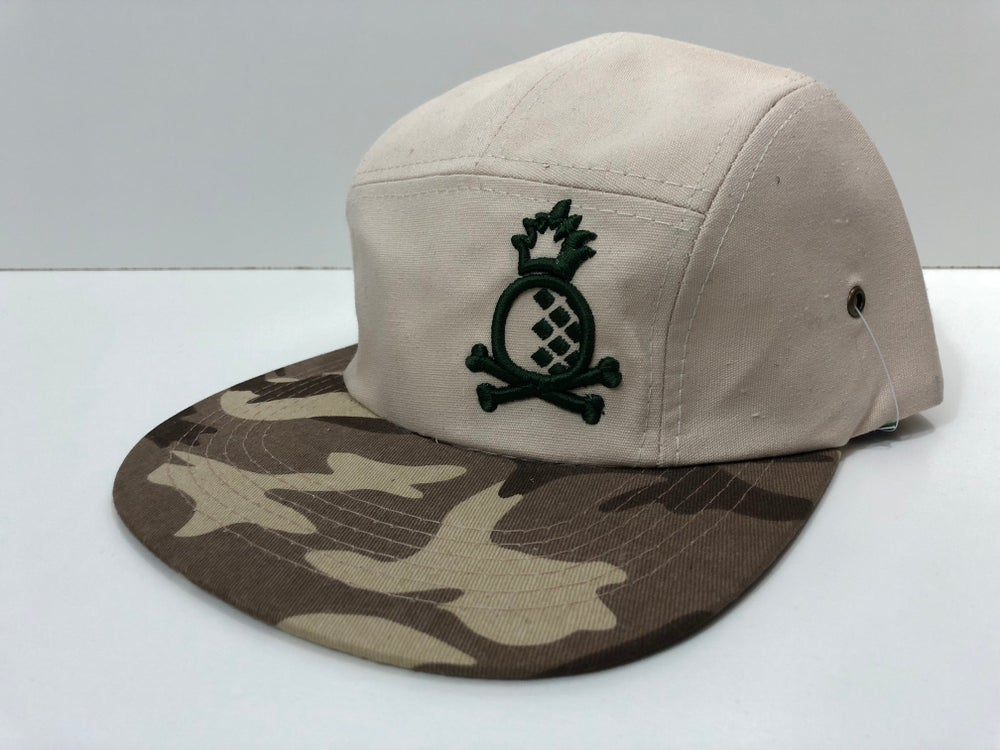 Image of 5 Panel Hat Camo with Green Pineapple