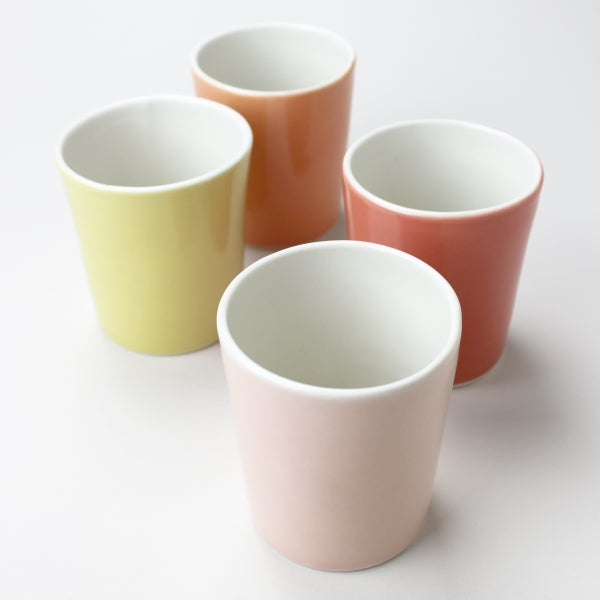 Image of set of four 12oz tumblers, mustard, rose, tangerine, cranberry