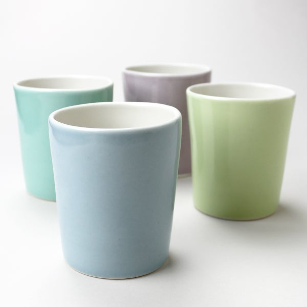 Image of set of four 12oz tumblers, ocean, aqua, lilac, avocado