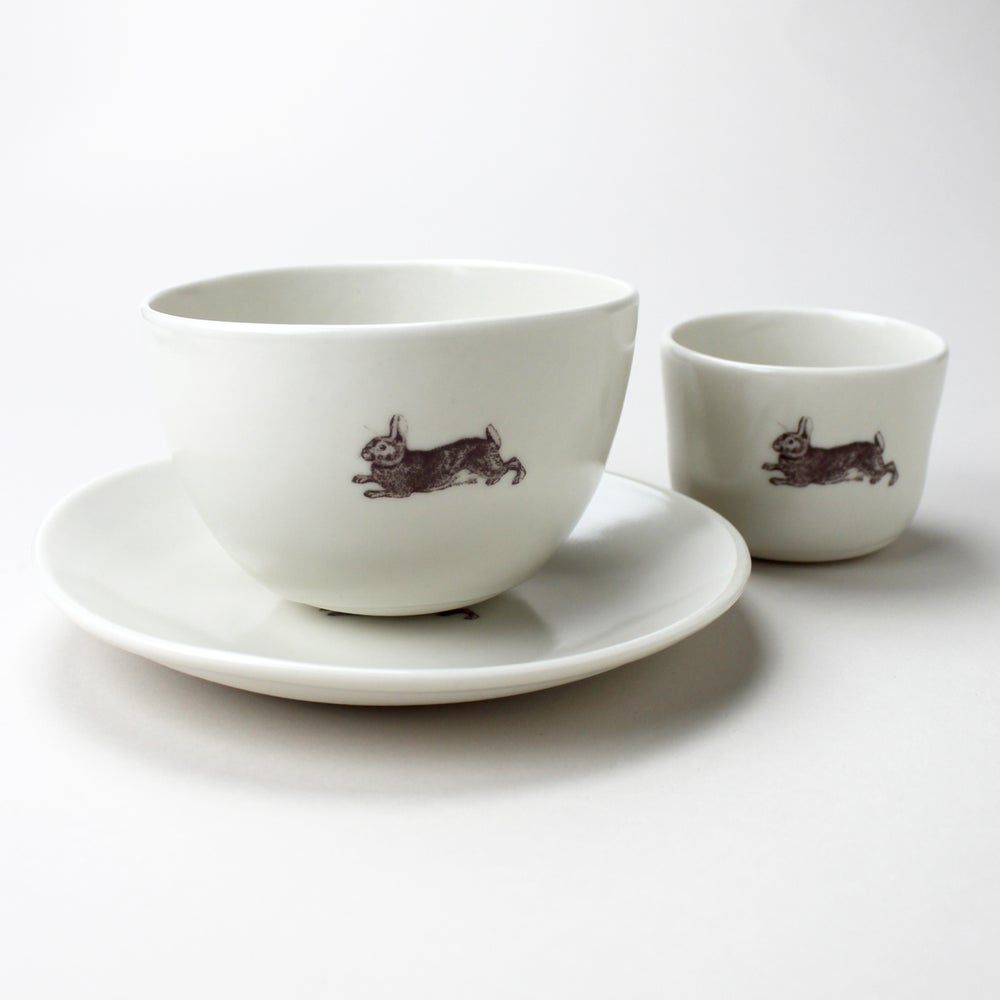 Image of good morning set: wee tea cup, bowl, plate, in ivory with rabbit