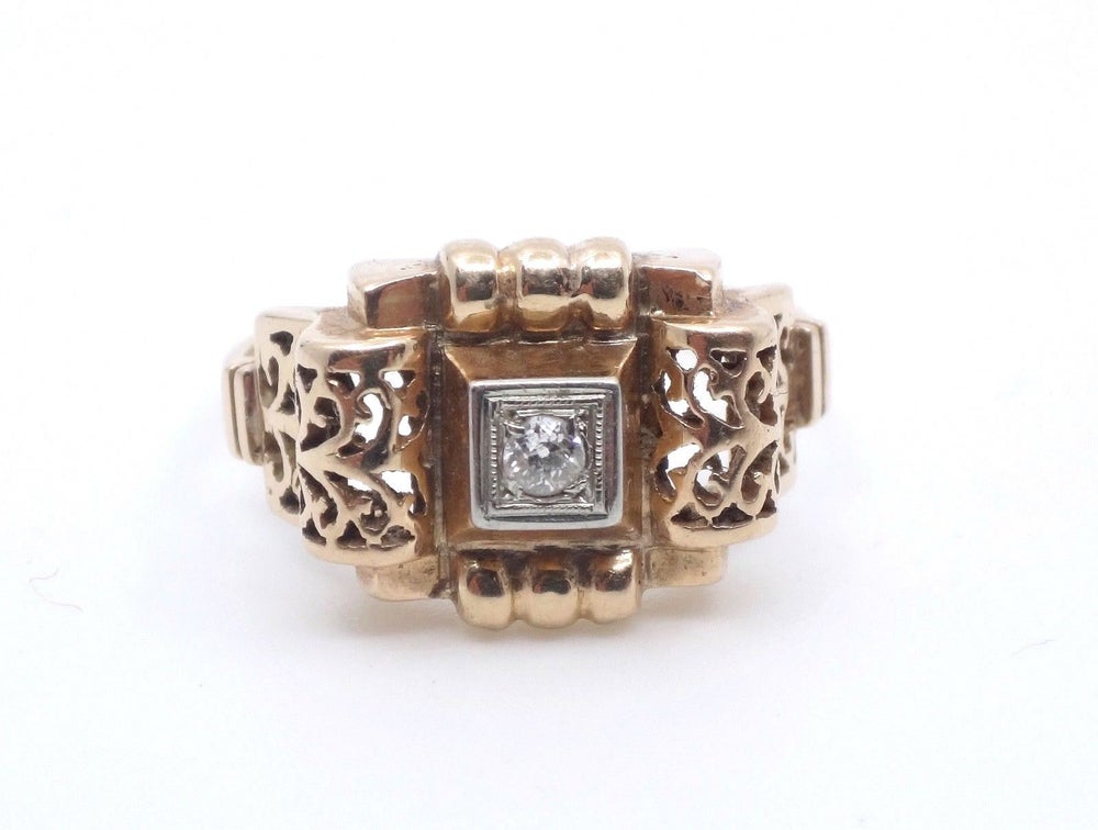 Image of Bague tank en or 18k et diamant Art Deco 1930/1940
