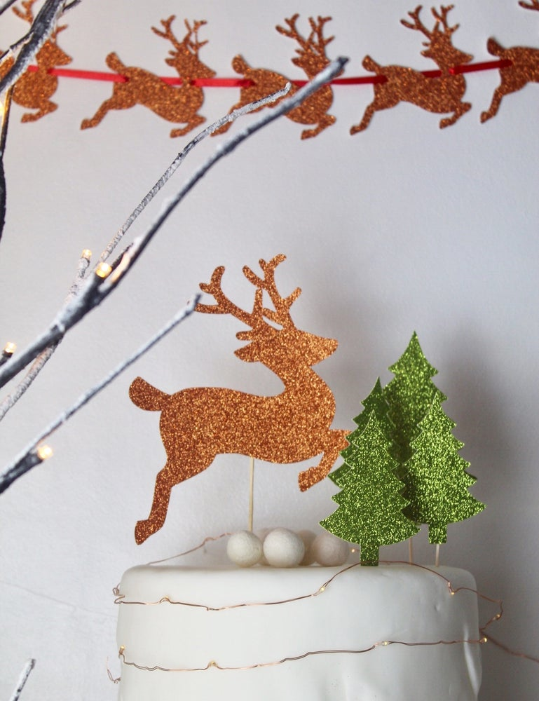 Image of Reindeer forest festive cake topper set