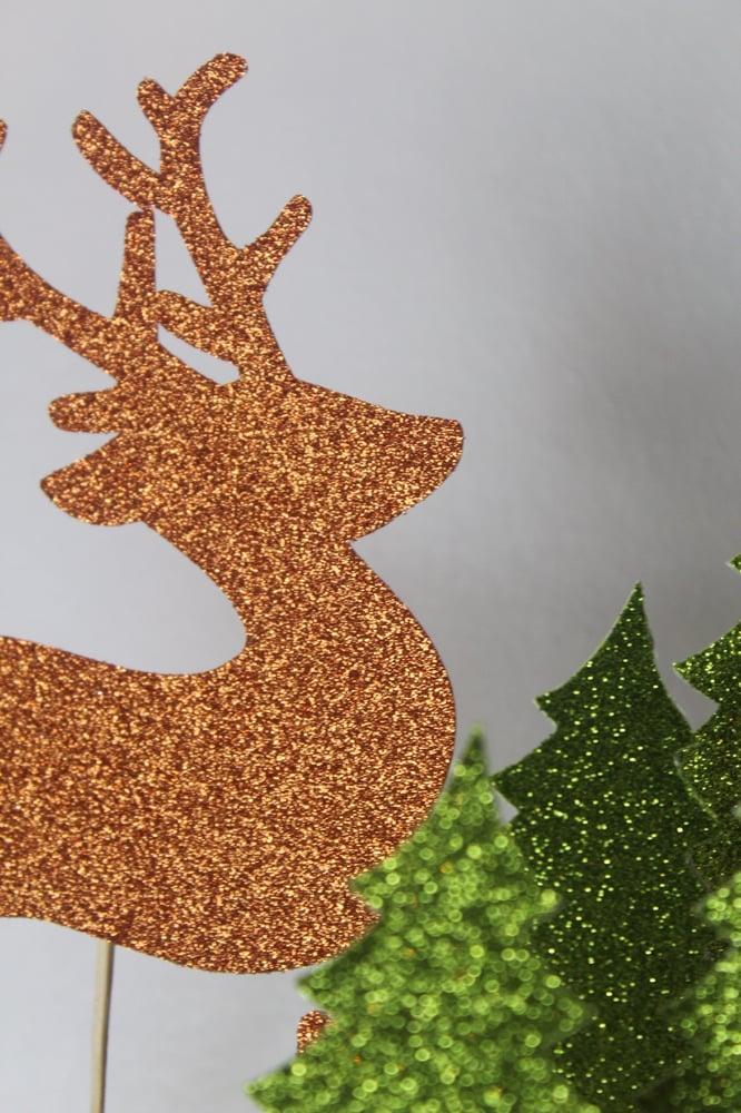 Image of Reindeer forest festive cake topper set