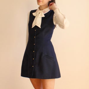 Image of 'Can't Help Falling in Love' Navy V-neck Dress