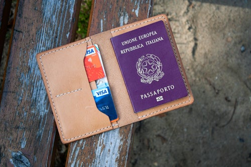 "Image of Drifter — ""Natural Tan"" Italian Cowhide Leather Passport/Notebook Wallet"