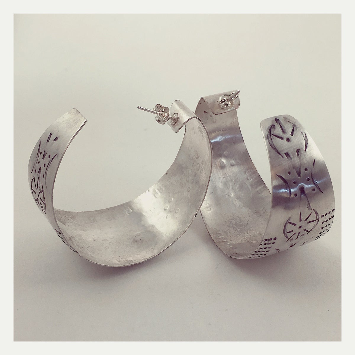 Image of Sterling Fallen Leaf Hoops
