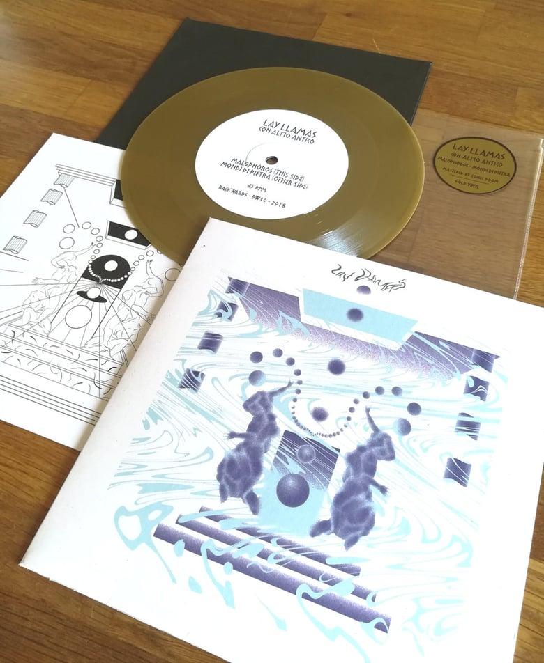 "Image of LAY LLAMAS with ALFIO ANTICO - Malophòros / Mondi Di Pietra 7"" [ltd.500 / Gold vinyl]"
