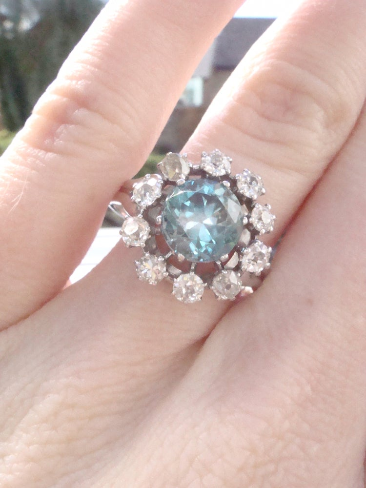 Image of Edwardian French platinum natural blue zircon 2ct and diamond 1.20ct cluster ring