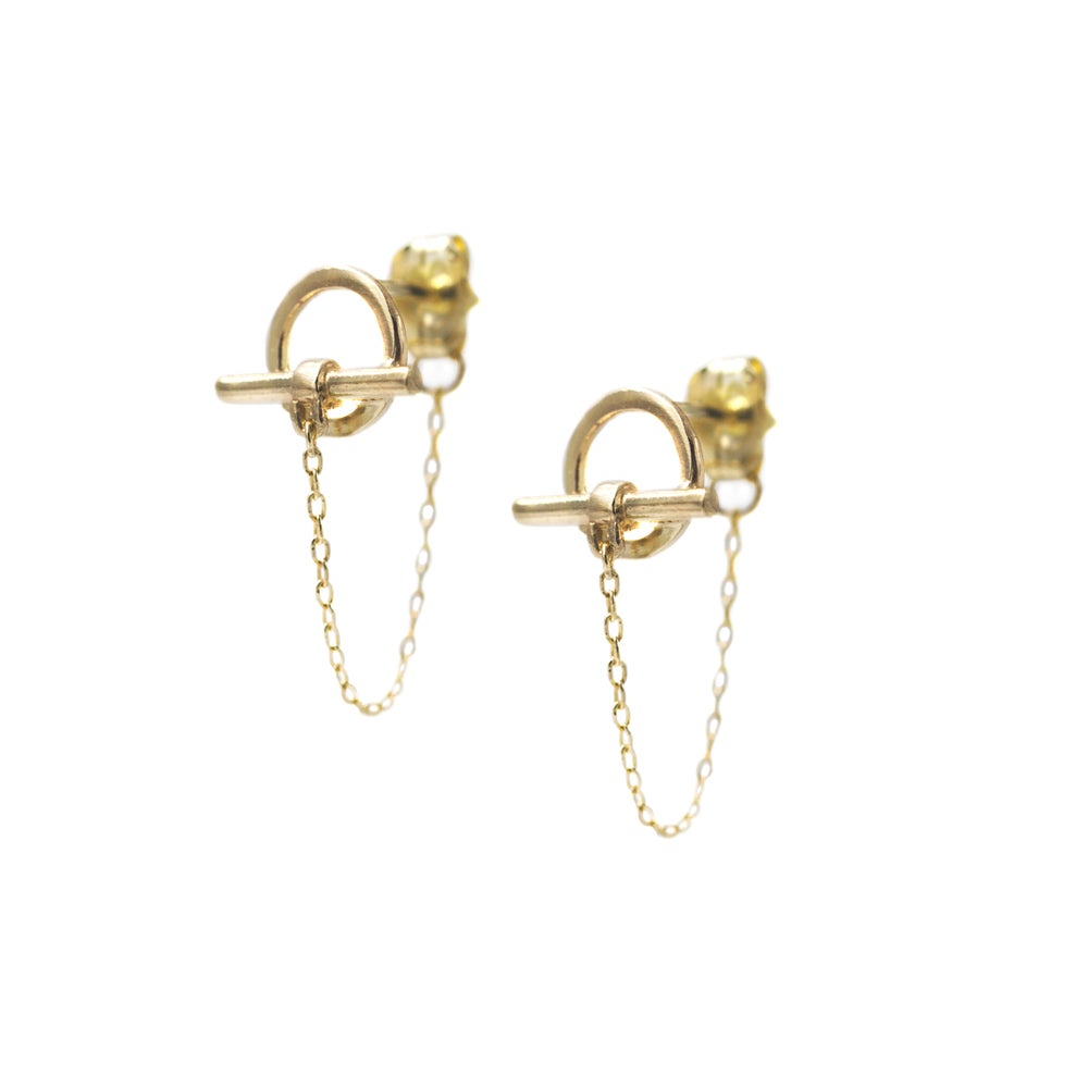 Image of TOGGLE CHAIN EARRINGS 14K