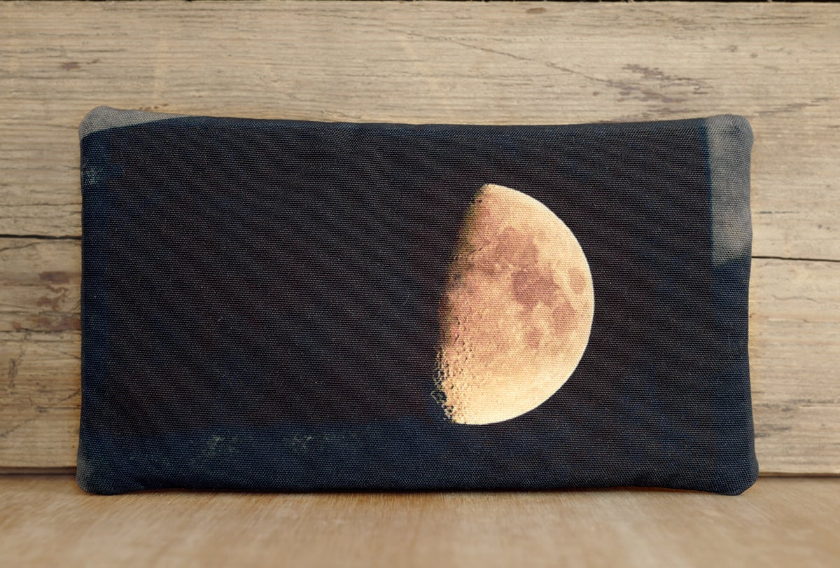 Image of Moon purse with zip, zipper purse, cosmetics bag, wallet, phone case