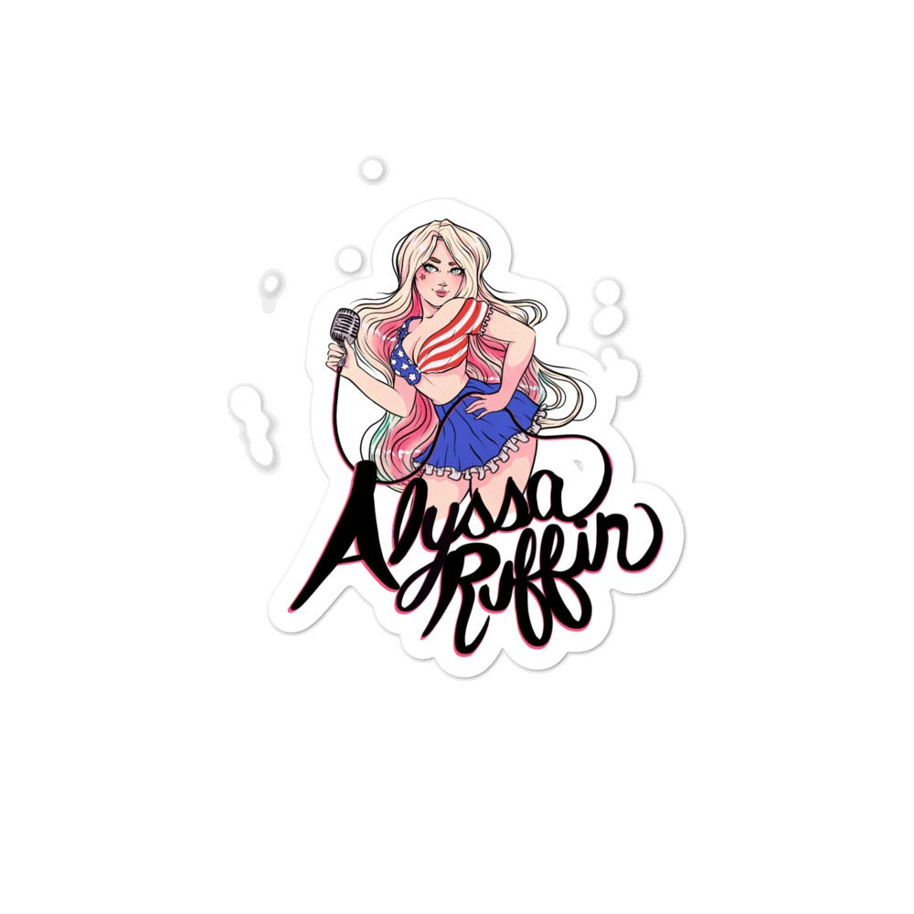 Image of Patriotic Girl Stickers - Black Outline