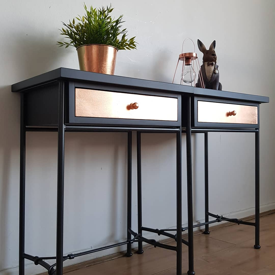 Image of Grey copper leaf and wrought iron bedside tables