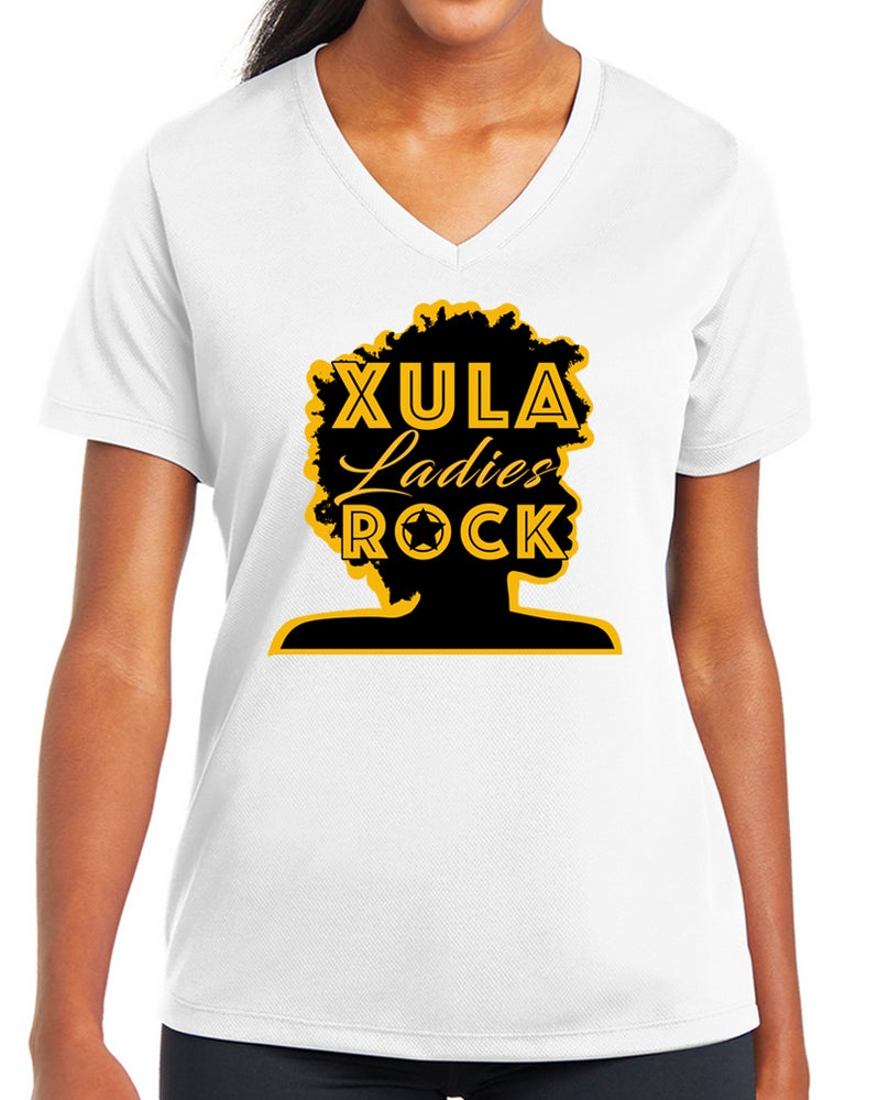 Image of XULA Ladies Rock White T-Shirt (v-neck)