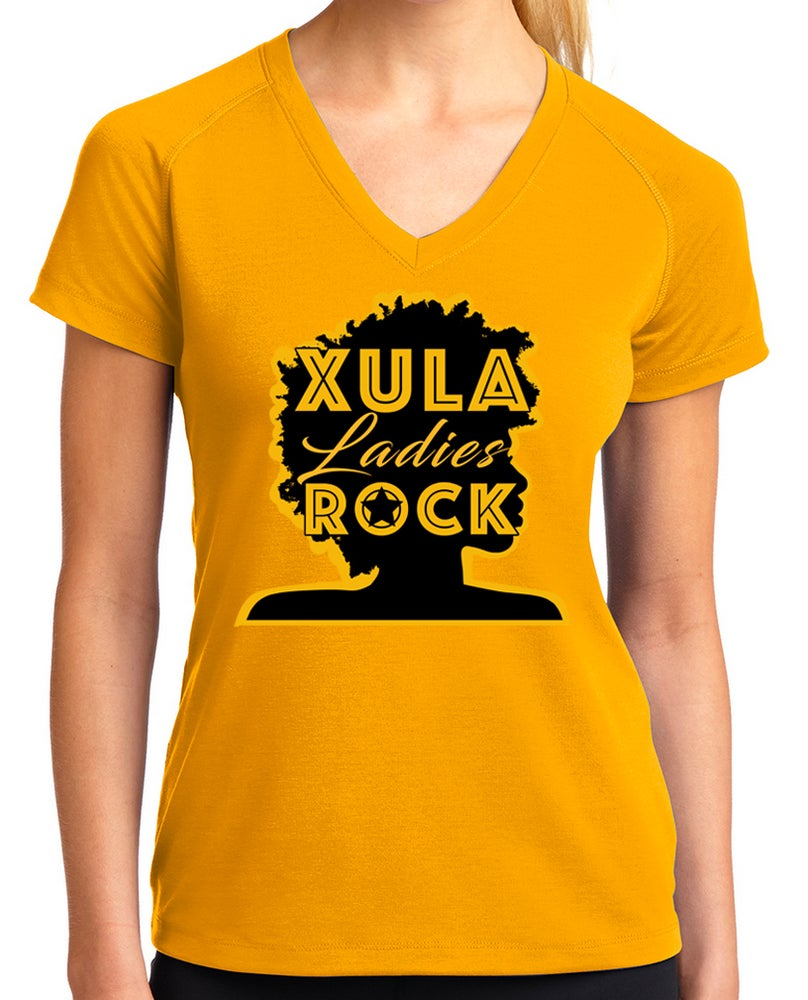 Image of XULA Ladies Rock Gold T-Shirt (v-neck)